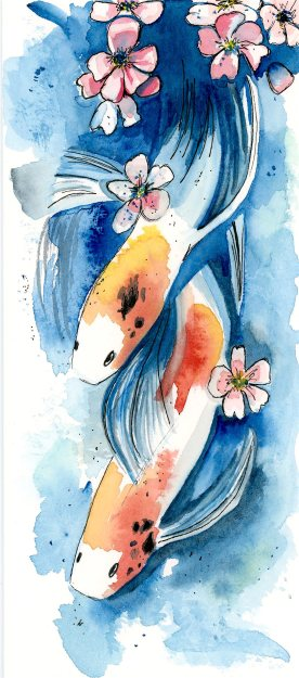 Koi Fish--for a card. Card recreated from Jennifer Kraska's amazing work: https://www.flickr.com/photos/23205417@N03/