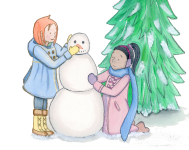 Snowman Building--January from Months of the Year