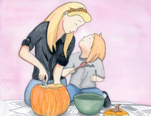 Pumpkin Carving with Mom--October from Months of the Year